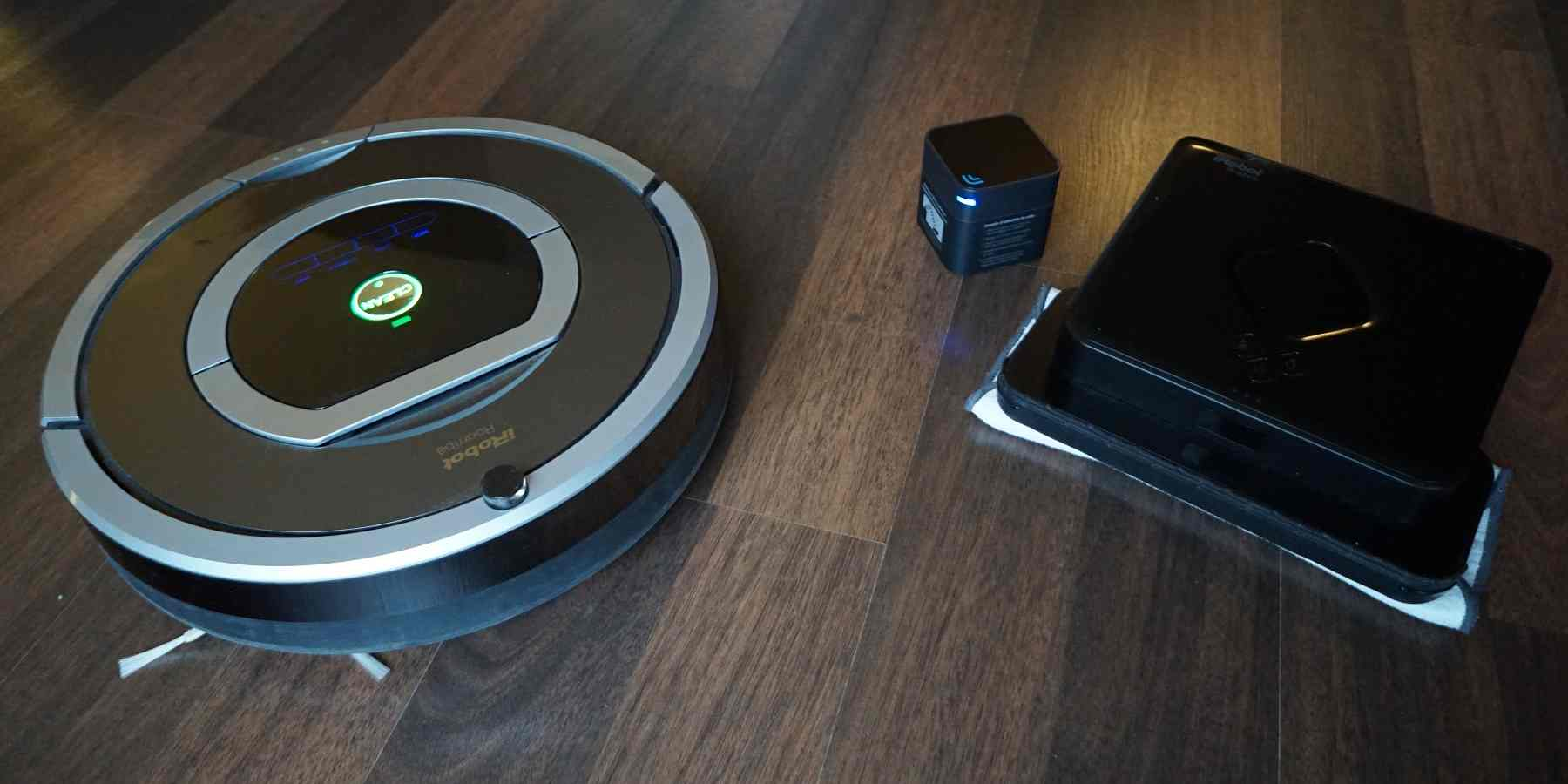 Zwei Roboter für alle Fälle: iRobot Roomba 780 (links) und iRobot Braava 380 mit Navigation Cube (rechts)
