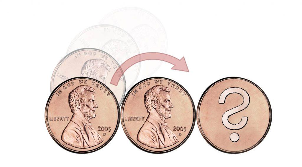 Steht die Münze nach der Drehung auf dem Kopf?