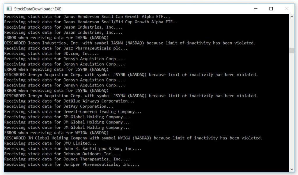 Screenshot des Stock Data Downloader beim Herunterladen historischer Kursdaten